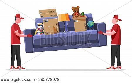 Delivery Character Man Movers Carry Sofa With Household Items. Porters Carry Couch Isolated. Moving