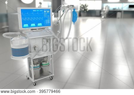 Icu Artificial Lung Ventilator With Fictive Design In Modern Hospital With Soft Focus - Fight Covid-