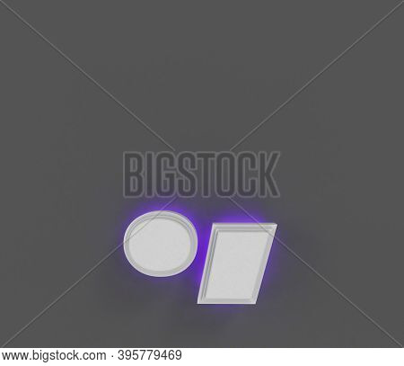 Grey Stone Font With Purple Backlight - Period (full Stop) And Comma Isolated On Grey Background, 3d