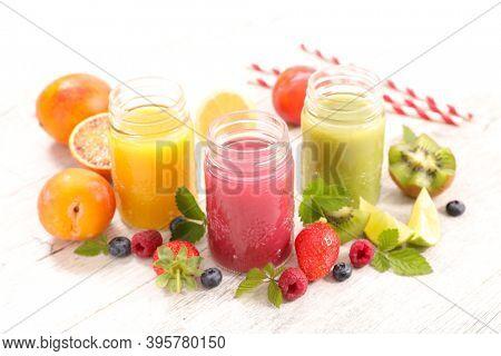 fruit juice with fresh fruits