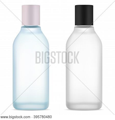 Cosmetic Water Bottle. Face Skin Serum Product. Blue And White Collagen Tonic Bottles. Hair Gel Jar