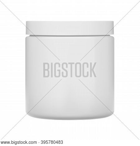 Cosmetic Cream Jar. Plastic Bottle Blank, Vector. Isolated Container For Skin Cosmetics Like Butter