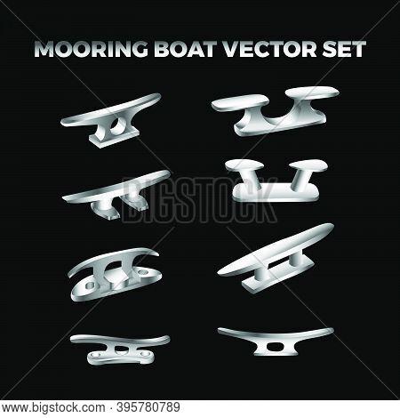 Silver Metalic Mooring Boat Cleat Vector Bundle Set Suitable For Marine Logo Symbol Icon