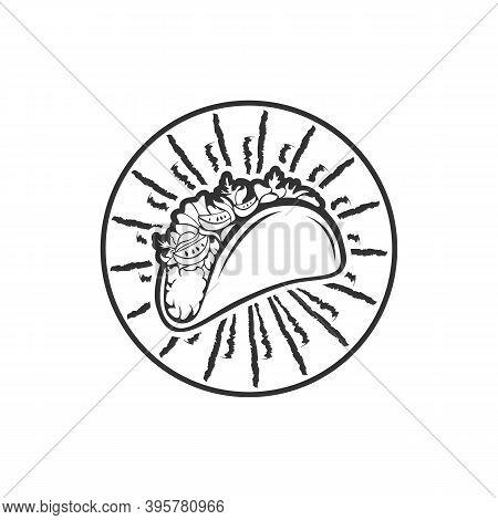 Tacos Logo Vector Illustration. Taco Sausage Silhouette, Good For Restaurant Menu And Cafe Badge. Vi