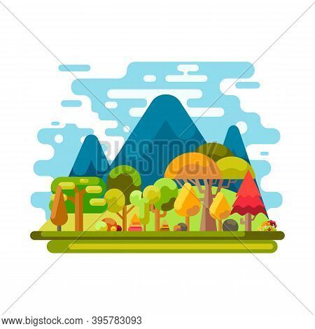 Forest And Mountain Icon Isolated On White Background From Travel And Adventure Collection. Forest A