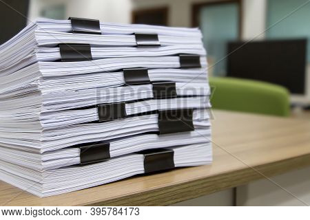 Pile Of Unfinished Documents Or Reuse Printouts Paperwork On Office Desk Stacked Concepts Of Reduce