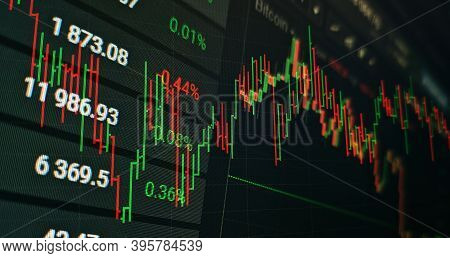Technical Price Graph And Indicator, Red And Green Candlestick Chart On Blue Theme Screen, Market Vo