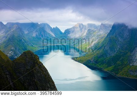Top View From The Mountain At The Fjord. Reine, Norway. View From High