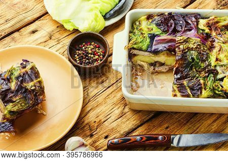 French Gratin With Cabbage And Potatoes.vegetable Gratin.healthy Food.vegetable Casserole.
