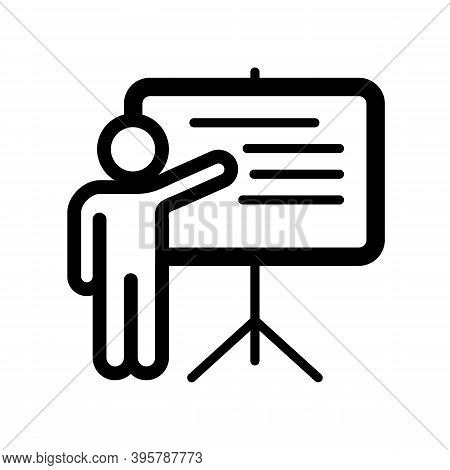 Stick Man Standing In Front Of The White Board Explaining. Explaining Icon Isolated On White Backgro