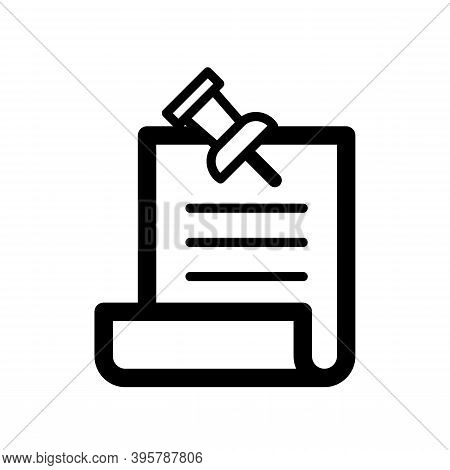 Pin Adhere To The Document Paper. Memo Icon Isolated On White Background. Best For Business Communic
