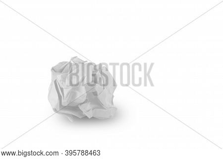 White Creased Paper Isolated On White Background With Clipping Path.