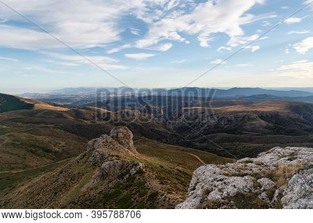 Views Towards The Province Of Soria From The Top Of The Peñas De Herrera During Sunset, In Aragon, S