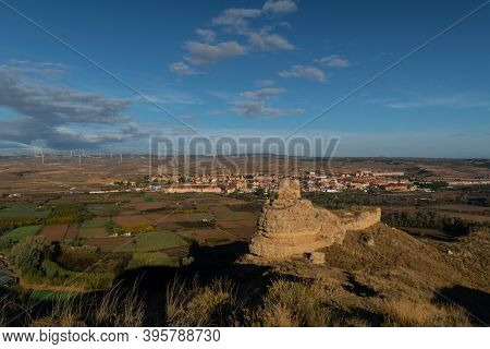 Ruins Of The Arab Castle In Maria De Huerva Near Zaragoza Early In The Morning With The Town And Win