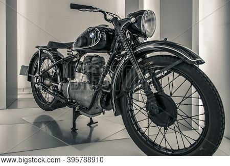 Munich/ Germany - May, 24 2019: 1949 Bmw R 24 Motorcycle At Bmw Museum/ Bmw Welt