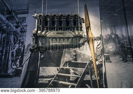 Munich/ Germany - May, 24 2019: 1930 Aviation Engine In Bmw Museum/ Bmw Welt