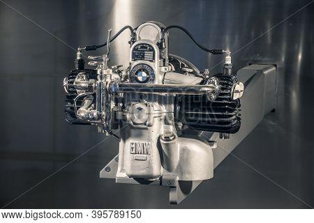 Munich/ Germany - May, 24 2019: Bmw M 2 B 15 Classic Engine Victoria Werke Nuernberg In Bmw Museum/