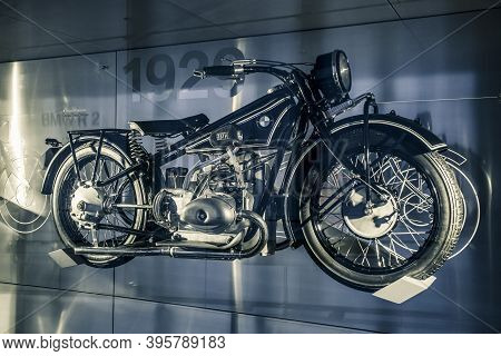 Munich/ Germany - May, 24 2019: 1929 Classic Motorcycle Bmw R63 In Bmw Museum/ Bmw Welt.  Munich Fir