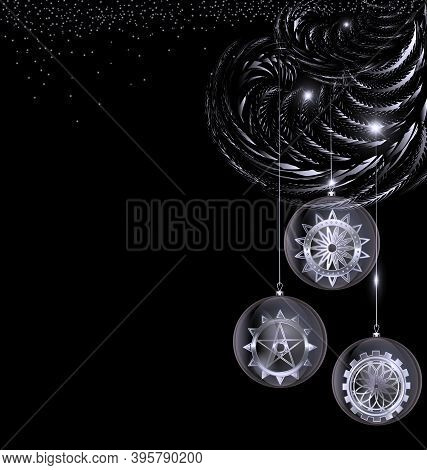 Vector Black White Christmas With Balls Gears