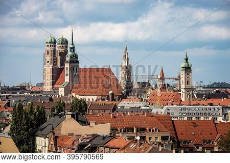Cityscape Of Munich Downtown With The Cathedral Of Our Dear Lady (frauenkirche), The Church Of Saint