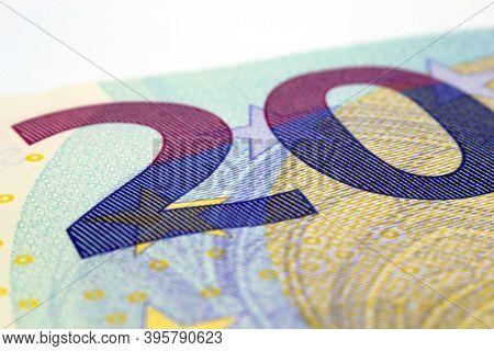 Close Up Of A Twenty Euro Banknote.