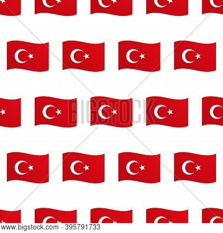 Vector Seamless Pattern Background With Wavy Flags Of Turkey For Turkish Public And National Holiday