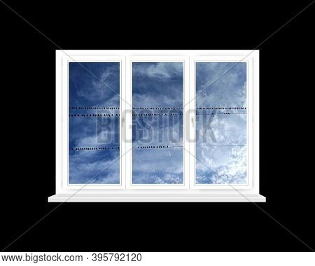 Window With View To Row Of Birds Sitting On Electric Wires Against Background Of The Sky. White Wind