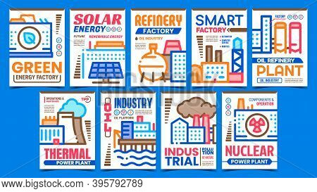 Energy Factory Creative Promo Posters Set Vector. Green And Solar Energy, Refinery And Thermal Power