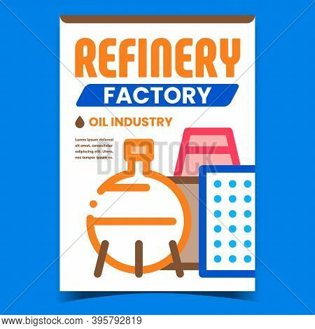 Refinery Factory Creative Promotion Banner Vector. Oil Industry Factory, Tank And Plant Building On