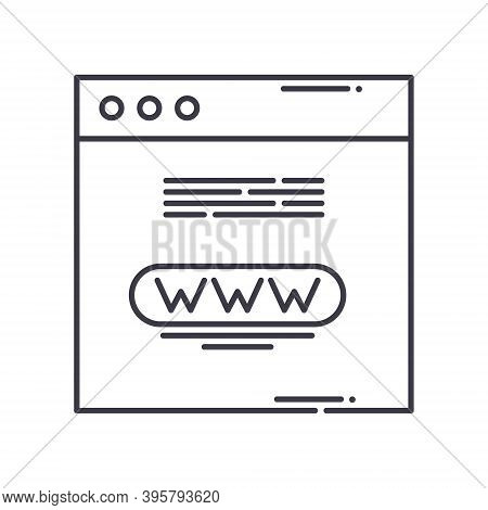 Domain Name Icon, Linear Isolated Illustration, Thin Line Vector, Web Design Sign, Outline Concept S