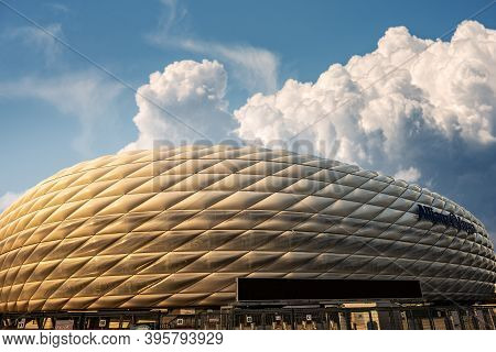 Munich, Germany - Sept 7, 2018: Allianz Arena (fussball Arena Munchen, Schlauchboot), The Home Footb