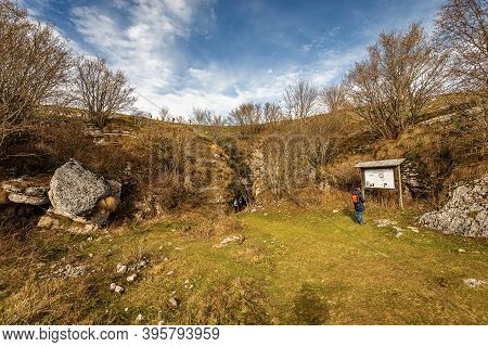 Lessinia Plateau, Italy - Nov 8, 2020: Entrance Of The Grotta Del Ciabattino (cave Of The Shoemaker)