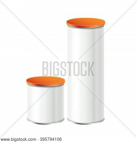 Potato Chips Low And Tall Packages Set Vector. Delicious Crunchy Chips Metallic Blank Containers Clo