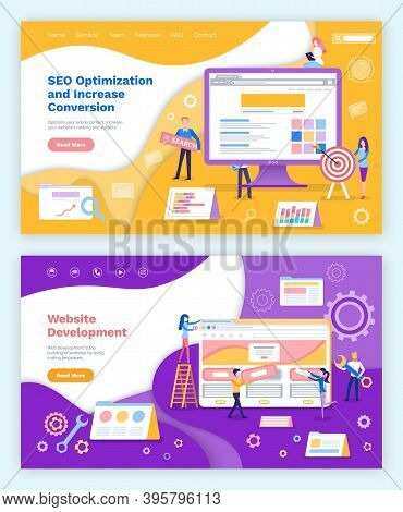 Seo Optimization Increase Of Conversion Website Development Vector. Programmers And Coders Working W