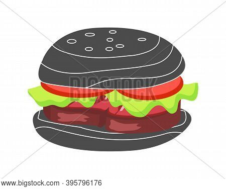 Hamburger With Fresh Tomatoes, Lettuce Leaf, Grilled Steak And Sesame On Bun. High Calorie Contain M