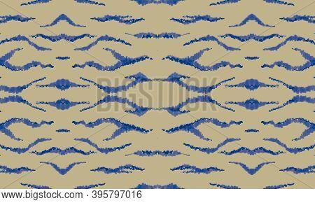 Seamless Fashion Ethnic Banner. Seamless Watercolor Wild Lines. Yellow Tiger Skin Pattern. Blue Safa