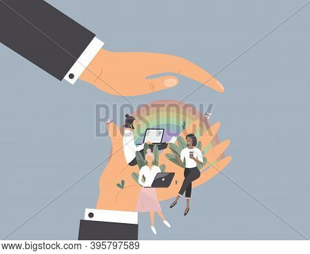 Tiny Office Workers Sitting On Huge Hand Under Other Hand As Under Shelter.concept Of Good Comfortab