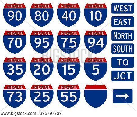 Interstate Traffic Sign Set From Usa On White Isolated Background.