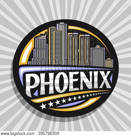 Vector Logo For Phoenix, Black Decorative Badge With Outline Illustration Of Famous Phoenix City Sca