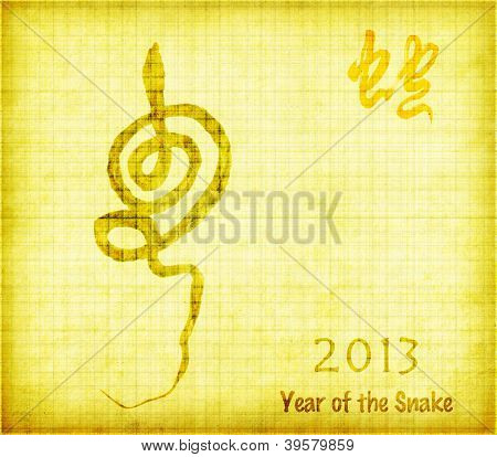 Grunge background with a snake symbol 2013,Chinese Calligraphy mean Year of the snake design poster