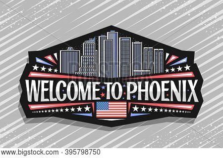 Vector Logo For Phoenix, Black Badge With Outline Illustration Of Famous Phoenix City Scape On Dusk