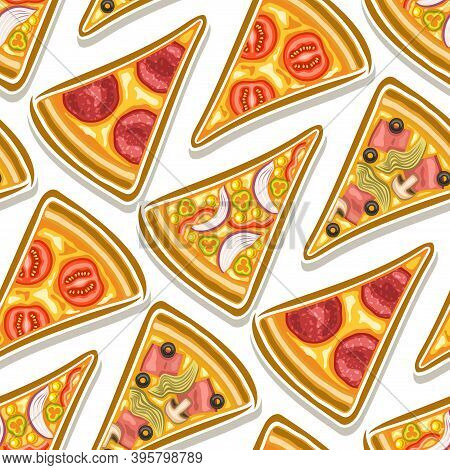 Vector Pizza Seamless Pattern, Square Repeating Pizza Background, Group Of Cut Out Illustrations Fla
