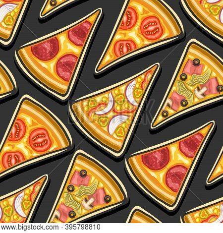 Vector Pizza Seamless Pattern, Square Repeating Pizza Background, Group Of Cut Out Illustrations Of