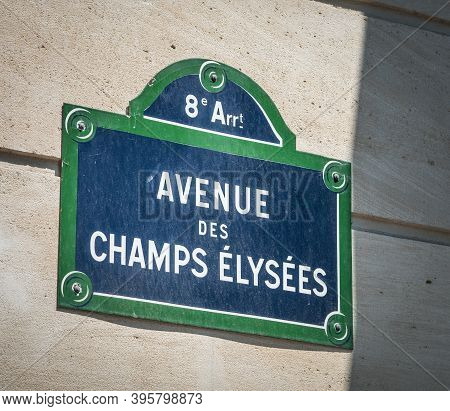 Close Up Of Champs Elysees Sign In Downtown Paris, France