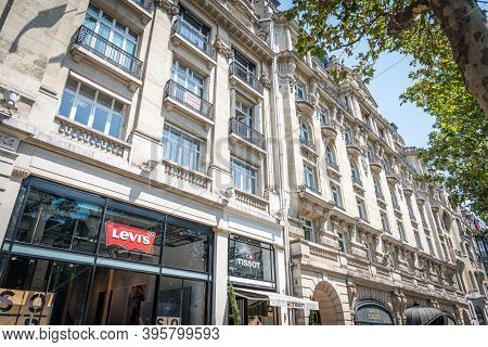 Paris, France - July 06, 2018: Levi's And Tissot Stores In World Famous Champs Elysees Boulevard