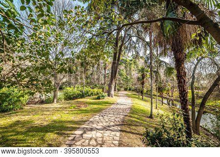 Stone Path In Beautiful Buen Retiro Park In Madrid, Spain