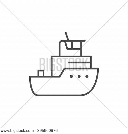 Tug Boat Line Outline Icon Isolated On White. Vector Illustration