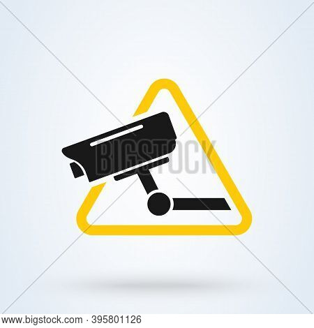 Surveillance Camera Warning Sign Icon Or Logo. Security Alarm  Concept. Surveillance Cctv Camera Vec
