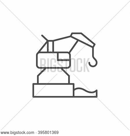 Harbor Crane Line Outline Icon Isolated On White. Vector Illustration