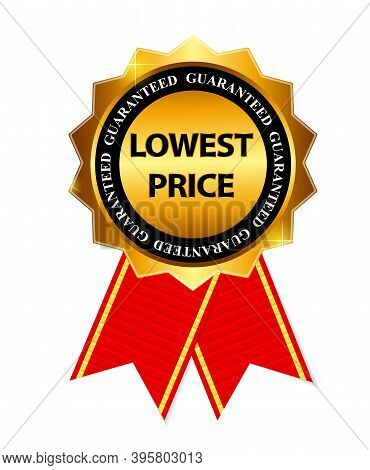 Lowest Price Guarantee Gold Label Sign Template Illustration